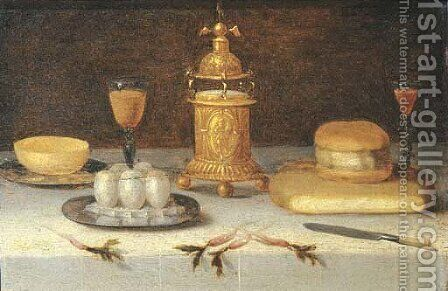 Eggs and a bowl on pewter plates with facon-de-Venise wineglasses by (after) Jacob Fopsen Van Es - Reproduction Oil Painting
