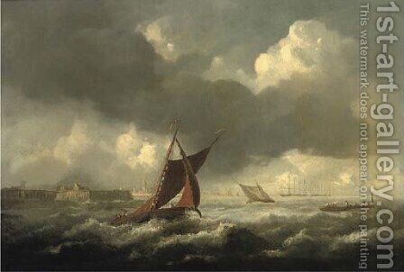 A seascape with shipping off the coast, three-masters beyond by (after) Jacob Van Ruisdael - Reproduction Oil Painting