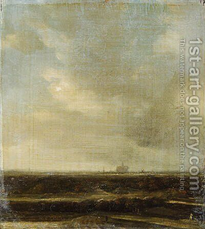 Landscape with a distant view of Haarlem by (after) Jacob Van Ruisdael - Reproduction Oil Painting