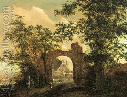 Travellers by the gate of a ruined country mansion by (after) Jacob Van Ruisdael - Reproduction Oil Painting