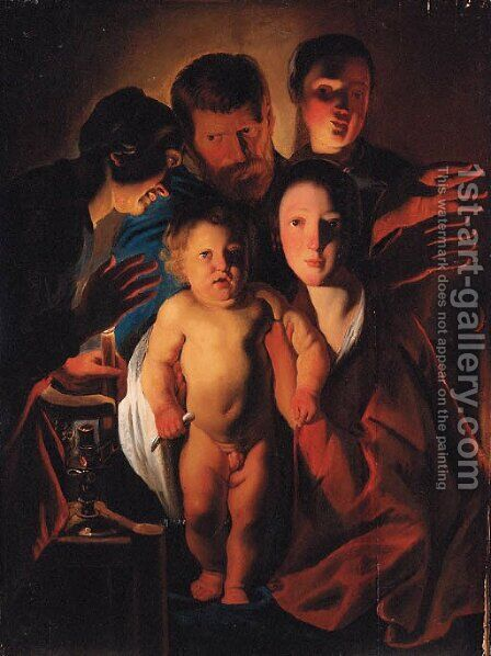 The Holy Family by candlelight by (after) Jacob Jordaens - Reproduction Oil Painting