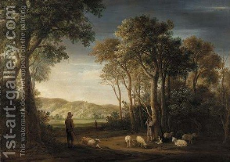 A wooded landscape with shepherds with their flocks in a clearing by (after) Jacob Van Der Croos - Reproduction Oil Painting