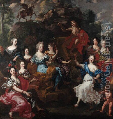 Apollo and the nine Muses by (after) Jacob Van Loo - Reproduction Oil Painting