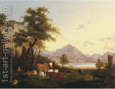 A mountainous Italianate landscape with a herdsman resting with his cattle by a lake by (after) Jacob Van Strij - Reproduction Oil Painting