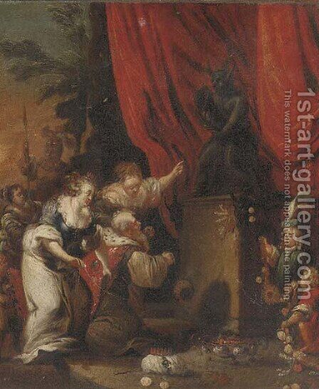 A sacrificial scene by (after) Jacob Willemsz De The Elder Wet - Reproduction Oil Painting