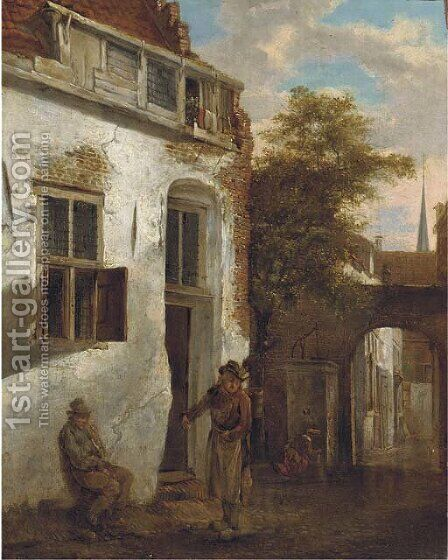 A courtyard scene with peasants by (after) Jacobus Vrel - Reproduction Oil Painting