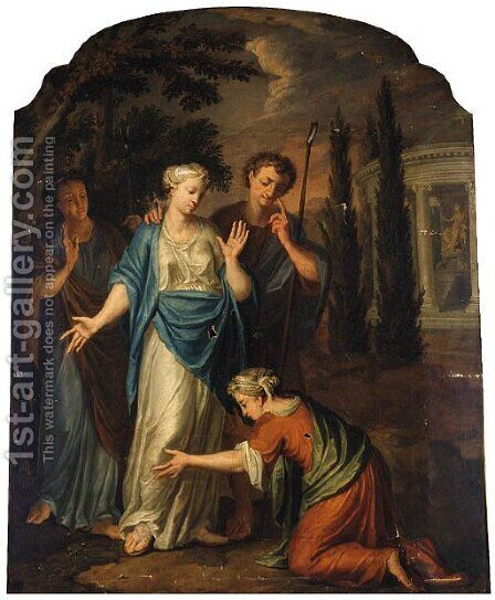 A Peasant making supplications to Woman and Attendants, a Temple devoted to Diana beyond by (after)  Jacopo (Giacomo) Amigoni - Reproduction Oil Painting