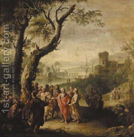 Christ healing the blind man by (after)  Jacopo (Giacomo) Amigoni - Reproduction Oil Painting