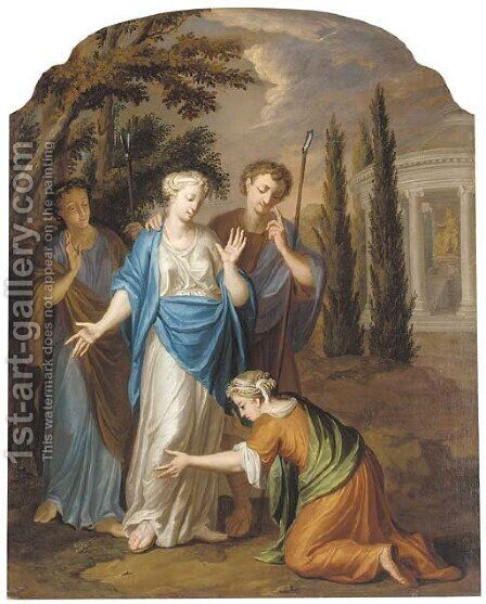 Classical figures before a temple to Diana by (after)  Jacopo (Giacomo) Amigoni - Reproduction Oil Painting