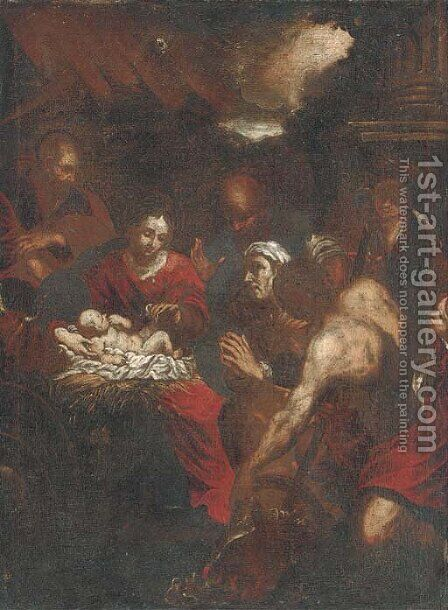 The Adoration of the Shepherds 3 by (after) Jacopo Bassano (Jacopo Da Ponte) - Reproduction Oil Painting