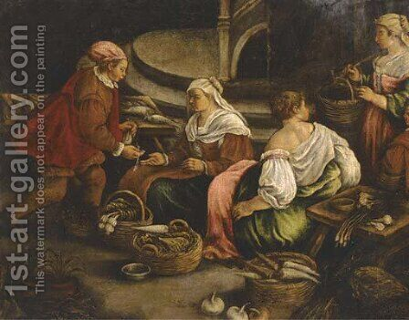 Vegetable sellers by (after) Jacopo Bassano (Jacopo Da Ponte) - Reproduction Oil Painting