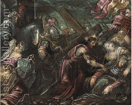 Christ carrying the Cross by (after) Jacopo Tintoretto (Robusti) - Reproduction Oil Painting