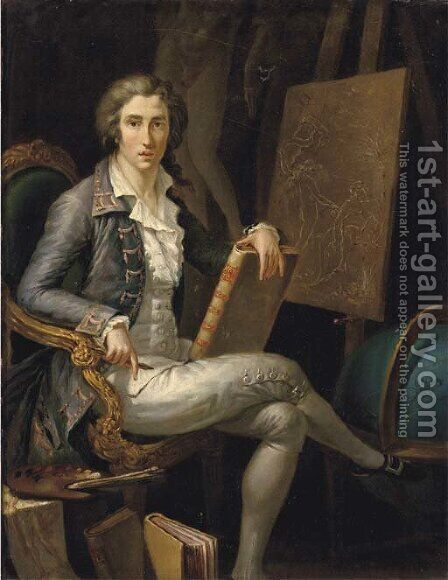 Portrait of a gentleman artist by (after) Jacques-Andre-Joseph Aved - Reproduction Oil Painting