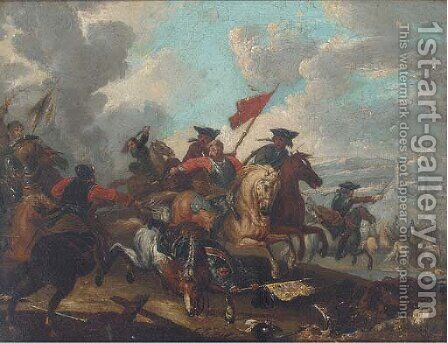 A cavalry engagement 4 by (after) Jacques (Le Bourguignon) Courtois - Reproduction Oil Painting