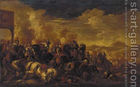 A cavalry engagement 5 by (after) Jacques (Le Bourguignon) Courtois - Reproduction Oil Painting