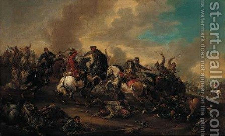 A cavalry skirmish 9 by (after) Jacques (Le Bourguignon) Courtois - Reproduction Oil Painting