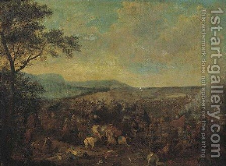 A cavalry skirmish between Christians and Turks in an extensive landscape by (after) Jacques (Le Bourguignon) Courtois - Reproduction Oil Painting