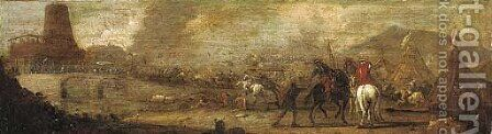 A military engagement before a besieged fortification by (after) Jacques (Le Bourguignon) Courtois - Reproduction Oil Painting