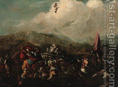 A cavalry battle 6 by (after) Jacques (Le Bourguignon) Courtois - Reproduction Oil Painting