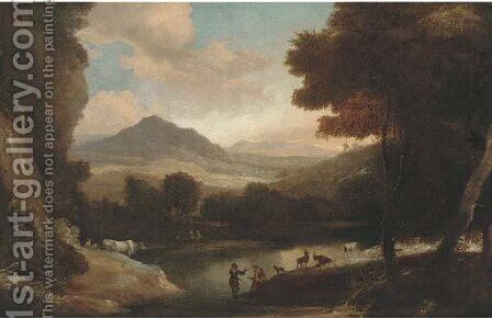 A wooded river landscape with cattle and figures resting on a bank by (after) Jacques D' Arthois - Reproduction Oil Painting