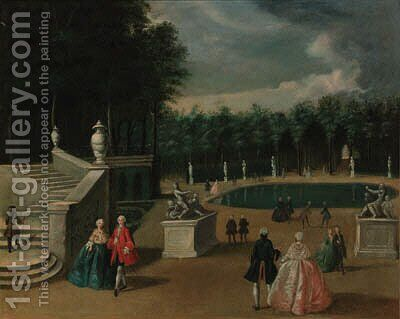 Elegant company in a park by (after) Jacques De Lajoue - Reproduction Oil Painting