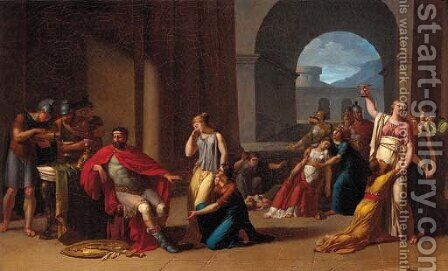 Meleager beseeched by his wife, mother, sisters and friends to take up arms in the defence of Calydon by (after) David, Jacques Louis - Reproduction Oil Painting