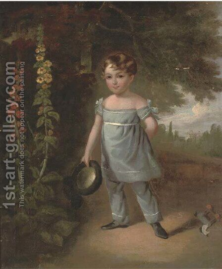 Portrait of a young boy by (after) Jacques Laurent Agasse - Reproduction Oil Painting