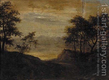 A wooded landscape with travellers on a path near a cottage by (after) Jacob Van Ruisdael - Reproduction Oil Painting