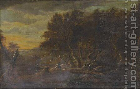 A wooded river landscape with anglers in the foreground by (after) Jacob Van Ruisdael - Reproduction Oil Painting