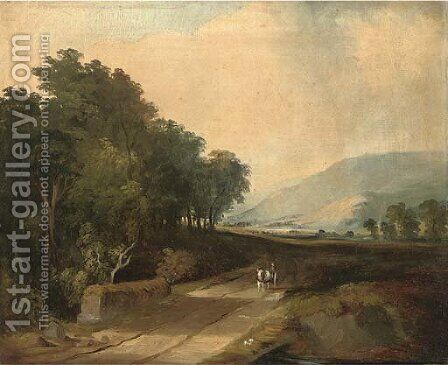 A horse and cart on a track in an extensive river valley by (after) James Arthur O'Connor - Reproduction Oil Painting