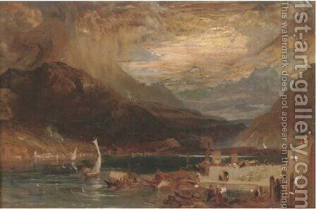 A storm on lake Como, northern Italy by (after) James Baker Pyne - Reproduction Oil Painting
