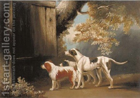 Three sporting dogs waiting for master by (after) James Barenger - Reproduction Oil Painting
