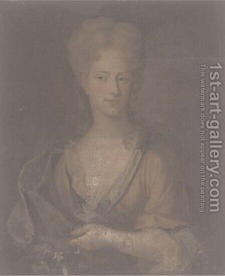 Portrait of a lady, traditionally identified as Abigail Hill by (after) James Fellowes - Reproduction Oil Painting