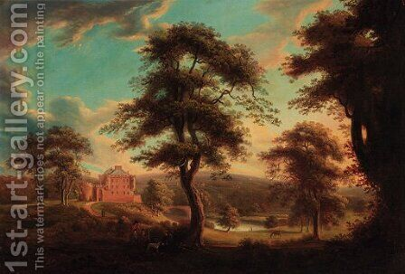 Huntsmen resting before a fortified house in a wooded river landscape by (after) James Norie - Reproduction Oil Painting