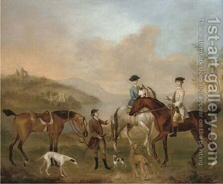 A coursing party in a landscape by (after) James Seymour - Reproduction Oil Painting