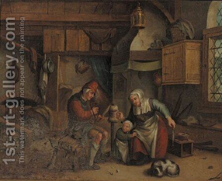 An old couple spinning wool in an interior, a child nearby by (after) Jan-Anton Garemyn - Reproduction Oil Painting