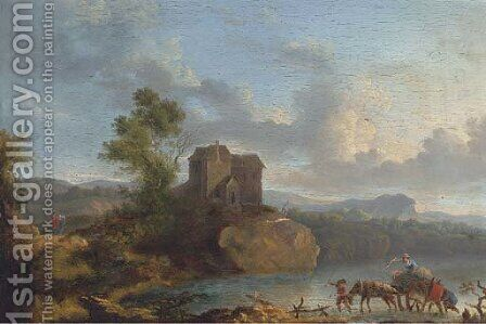 A landscape with travellers crossing a ford, a house beyond by (after) Jan Asselyn - Reproduction Oil Painting