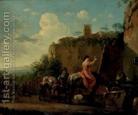 Travellers on horseback at rest by a well, a hilltop town beyond by (after) Jan Asselyn - Reproduction Oil Painting