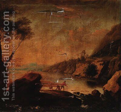 A river landscape with a fisherman before a waterfall by (after) Jan Baptist Huysmans - Reproduction Oil Painting