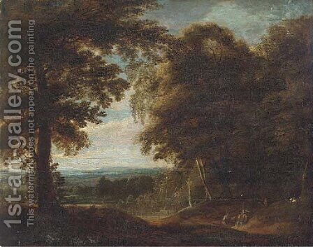 A wooded landscape with travellers at rest by (after) Jan Both - Reproduction Oil Painting