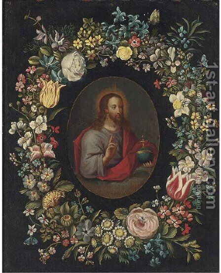 Salvator Mundi, in a floral cartouche by (after) Jan, The Younger Brueghel - Reproduction Oil Painting
