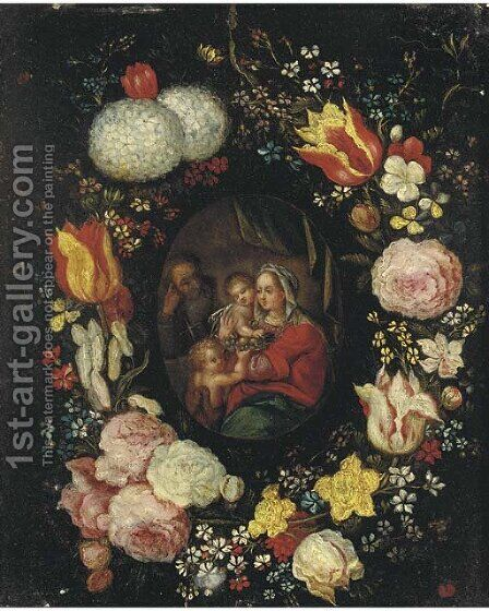 The Holy Family with the Infant Saint John the Baptist in a floral cartouche by (after) Jan, The Younger Brueghel - Reproduction Oil Painting