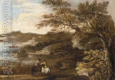 A wooded river landscape with riders on a track and fishermen beyond by (after) Jan De Momper - Reproduction Oil Painting