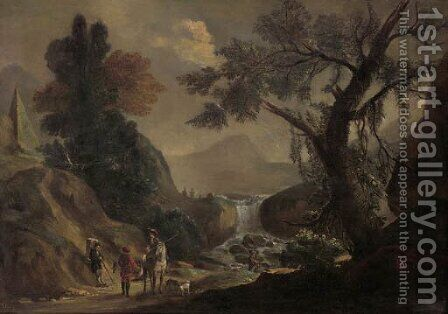 Falconers and a traveller on a path, by a torrent landscape by (after) Jan Frans Bredael - Reproduction Oil Painting