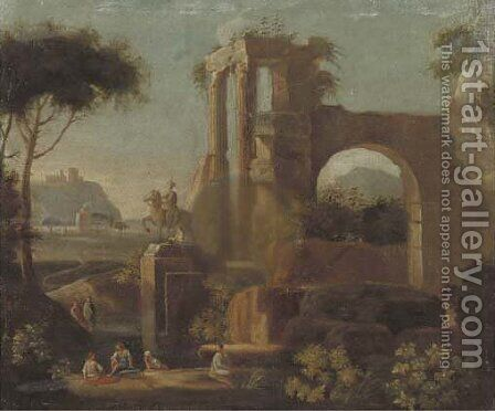 An Italianised landscape with bathers by a Classical ruin by (after) Jan Frans Van Orizzonte (see Bloemen) - Reproduction Oil Painting