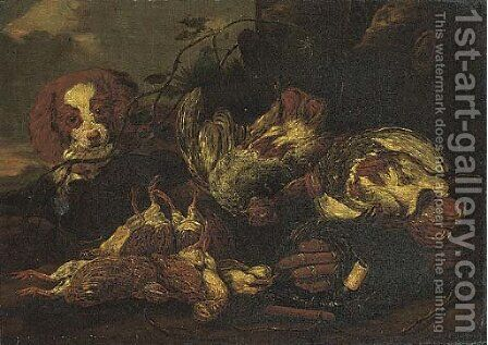A spaniel with dead game birds in a clearing by (after) Jan Fyt - Reproduction Oil Painting