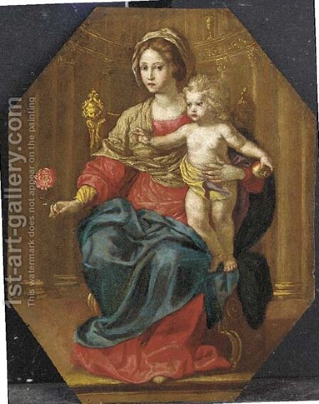 The Madonna and Child Enthroned by (after) Jan (Mabuse) Gossaert - Reproduction Oil Painting