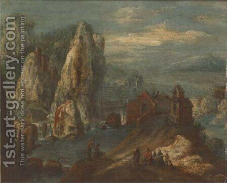 A Rhenish landscape with figures on a track, a bridge beyond by (after) Jan Griffier I - Reproduction Oil Painting