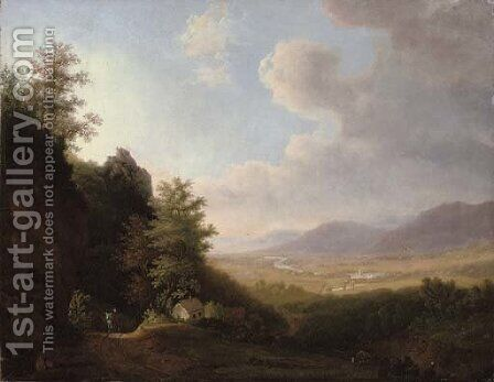 A traveler on a mountain path, an extensive landscape beyond by (after) Jan Hackaert - Reproduction Oil Painting
