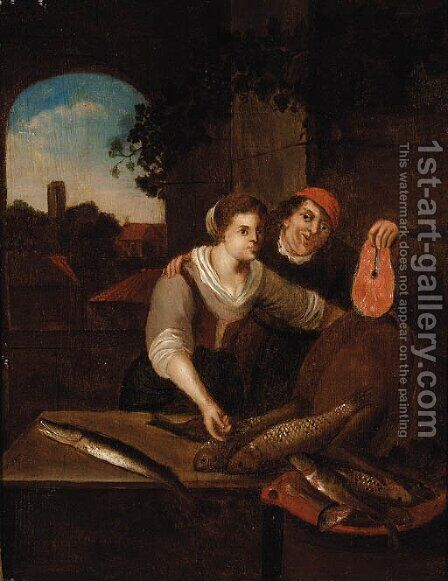 A Fishmonger and a Peasant Woman at a casement by (after) Jan Steen - Reproduction Oil Painting